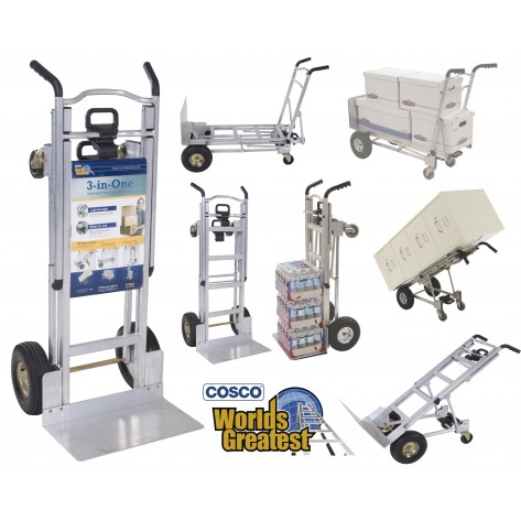 COSCO 3-in-1 Aluminium Multipurpose Hand Truck Trolley with 2-Wheel