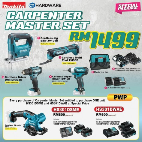 MAKITA SPECIAL COMBO PACKAGE OFFER - CARPENTER MASTER SET [JV101D + TM30 + DF331D + TD110D + TOOLBAG + 2x BATTTERY + 2x CHARGER]