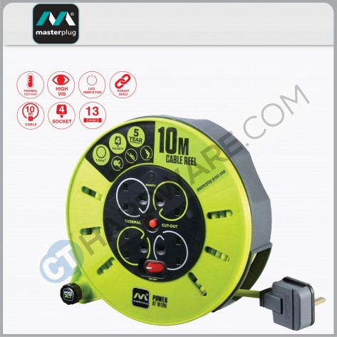 Masterplug Cassette Reel With 10M Green Wire,4 Socket 13Amp
