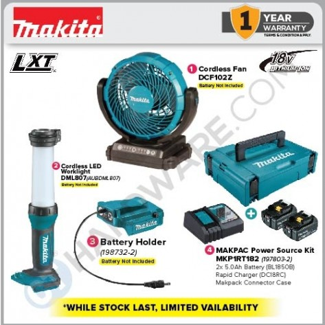 MAKITA 18V EMERGENCY KIT 1 (DCF102Z+DML807+198732-2+MKP1RT182) (WHILE STOCKS LAST)
