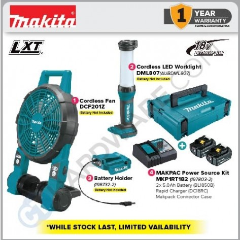 MAKITA 18V EMERGENCY KIT 2 (DCF201Z+DML807+198732-2+MKP1RT182) (WHILE STOCKS LAST)