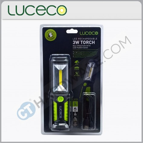 LUCECO LILT30T65 LED Rechargeable Multiposition Worklight 3W with power bank function