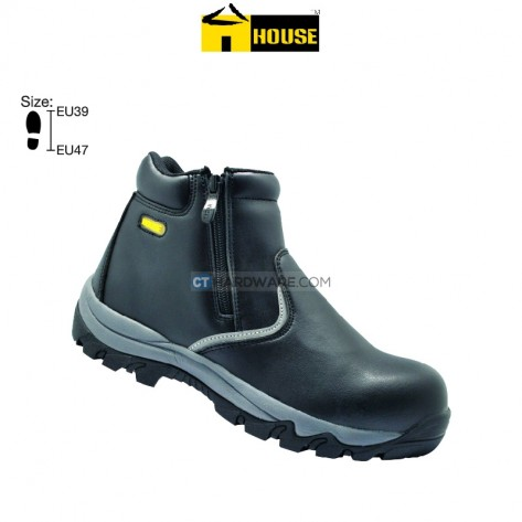 House BRUSSELS Safety Shoe High Cut (Microfibre Leather) Black With Zip