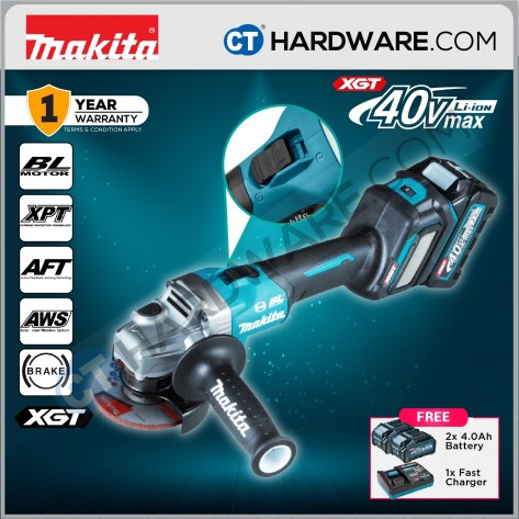"Makita GA021GM201 Cordless Brushless Angle Grinder 40V 4"" 100mm 8500Rpm C/W 2x 4.0Ah Battery & 1x Fast Charger"