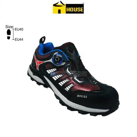 House NAPOLI Safety Shoe Composite Top Cap / Mid Sole (Red Black & Blue Grey)