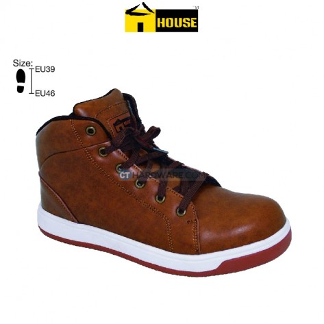 House OXFORD Safety Shoe EVA & Nutrile Rubber Outsole & Aramid Mid Sole (Brown) Hight Cut