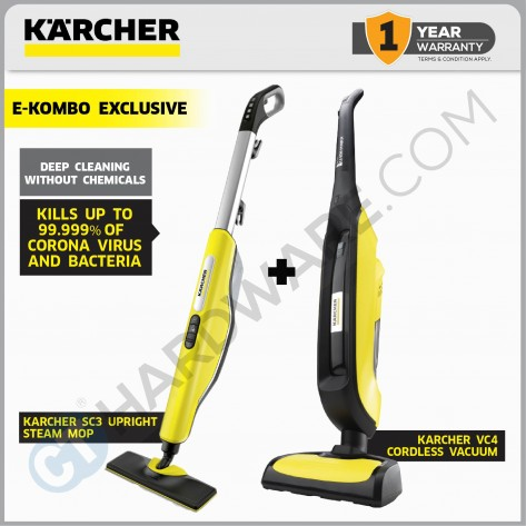 DYNAMIC FLOOR DUO E-KOMBO EXCLUSIVE - SC 3 UPRIGHT EASYFIX  STEAM CLEANER + VC 4 VACUUM CLEANER