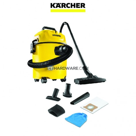 Karcher WD1 HOME Wet and Dry Vacuum Cleaner c/w 2-in1 Floor Tool & Extra 2x Nozzles