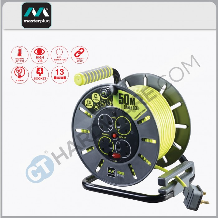 Masterplug Open Reel With 50m Green Wire 4 Socket 13amp