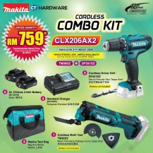 MAKITA CORDLESS COMBO KIT SET [TM30DZ + DF331DZ + TOOLBAG + 2x BATTTERY + 1x STANDARD CHARGER] (CLX206AX2)