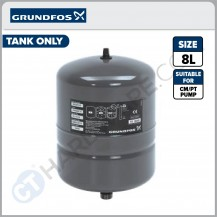 """GRUNDFOS 96526321 PRESSURE TANK FOR CM/PT - GREY COLOUR (8L x 1"""") [ 13AMTWX101 ] TANK ONLY"""