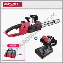 WORCRAFT CGCS40LI CORDLESS CHAIN SAW 20V+20V 14  4500RPM 8.5M/S C/W 2x BATTERY 4.0 AH & 1x TWO PORT CHARGER (CGCS40LI)