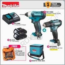 MAKITA CLX224 CORDLESS COMBO KIT SET [TD110DZ + DF333DZ + TOOLBAG + 2X BATTTERY + 1X STANDARD CHARGER