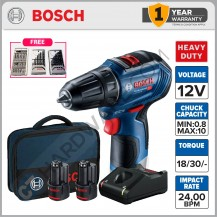Bosch GSR 12V-30 BRUSHLESS CORDLESS DRILL 12V 2.0AH 420-1600RPM 30/17NM COME WITH 2x BATTERY & 1x CHARGER 06019G90L1 (GSR12V30SET)