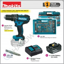 [ CHRISTMAS PROMOTION ] MAKITA DHP482SFX6 CORDLESS HAMMER DRIVER DRILL 18V LXT 13MM COME WITH 1x 3.0AH BATTERY , 1x CHARGER & ACCESSORIES SET