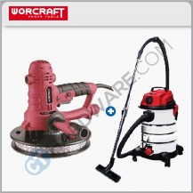 [COMBO] WORCRAFT DS08180 DRYWALL SANDER 800W  + VC1630 WET & DRY VACUUM CLEANER 1600W
