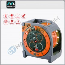 Masterplug HMU15134SLOPX Orange Case Reel With 15M Orange Wire,4 Socket 13Amps