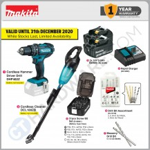 MAKITA HOME DIY KIT COMBO 4A ( DHP482Z CORDLESS HAMMER DRILL + DCL180ZB CORDLESS CLEANER )