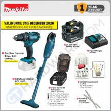 MAKITA HOME DIY KIT COMBO 4B ( DHP482Z CORDLESS HAMMER DRIVER DRILL + DCL180Z CORDLESS CLEANER )