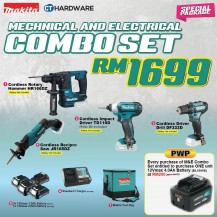 MAKITA SPECIAL COMBO PACKAGE OFFER -MECHANICAL AND ELECTRICAL  SET [HR166DZ + TD110D + DF333D  + 3x BATTTERY + 1x CHARGER + TOOLBAG]