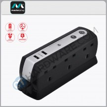 Masterplug USB Power Block With 6 Socket,2 USB Port 2.1Mah(Black) Surge Protected