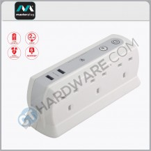 Masterplug USB Power Block With 6 Socket,2 USB Port 2.1Mah(White) Surge Protected