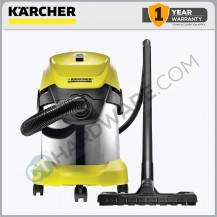 Karcher WD3 Premium Wet & Dry Vacuum Cleaner 17L 1000W S/S with Cartridge Filter