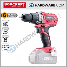 WORCRAFT CORDLESS DRILL 20V 10MM 40NM 350-1400RPM  WITHOUT BATTERY & CHARGER ( SOLO UNIT )