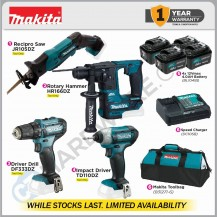 MAKITA CORDLESS COMBO 2 12Vmax (JR105DZ+HR166DZ+DF333DZ+TD110Z) - WHILE STOCKS LAST