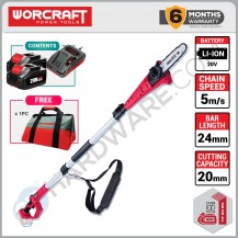 "WORCRAFT CPS-S20LI CORDLESS POLE SAW 20V 8"" 2500RPM  (CPSS20LISOLO)"