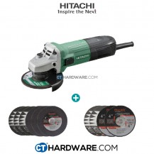 Hitachi G10SS2 Disc Grinders With Slide Switches Free: 6Pcs Cutting Disc + 4 Pcs Grinding Disc
