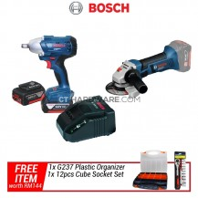 [Combo] Bosch Cordless GDS250LI Professional Impact Wrench + GWS18VLI Solo Angle Grinder Professional