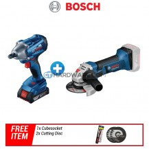 Bosch GDS250LI Impact Wrench + GWS18VLISOLO Angle Grinder + Free Gift