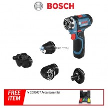 Bosch GSR12V-15 FC Professional FlexiClick 5-in-1 Cordless Drill Multi Tools Set