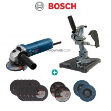 """Bosch GWS060 Professional 100mm (4"""") Angle Grinder 670W + Accubit TZ6103 Angle Grinder Stand + Handle"""