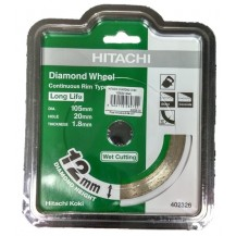 Hikoki  105mm x 12mm Continuous Rim Wet Cutting Diamond Disc (402326)