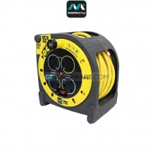 Masterplug Yellow Case Reel With 15M Black Wire,4 Socket 13Amps