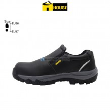 House LEEDS Safety Shoe (Microfibre Leather) Black Without Laces