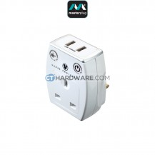 Masterplug USB Charger With 2 USB Socket(Surge Proctection)White