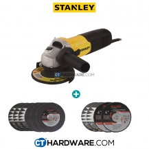 Stanley STGS6100 Small Angle Grinder  FOC 6PCS CUTTING DISC AND 4PCS GRINDING DISC