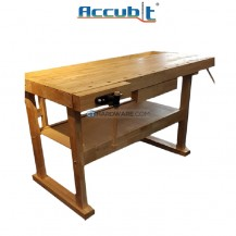 ACCUBIT RUBBER WOOD WORK BENCH C/W 2 CLAMP 1 DRAWER