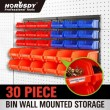 HORUSDY SDY97904 30pc Tool Storage Bins Garage Parts Organizer Wall Mounted Plastic Board